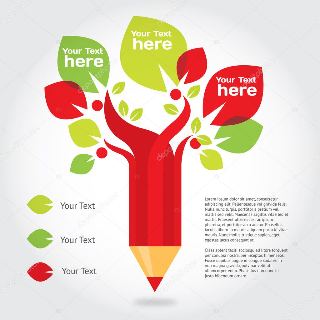 Depositphotos Stock Illustration Pencil Tree Infographic About Education Photo Drawings