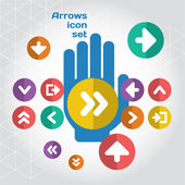 User interface arrows icon composition set with hand. — Stock Vector