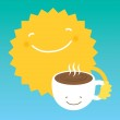 Sun drink coffee from a white cup in the morning. — Stock Vector #33703395