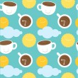 Seamless pattern morning coffee theme: cups with coffee, sun and clouds — Stock Vector