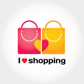 I love shopping vector sign — Stock Vector