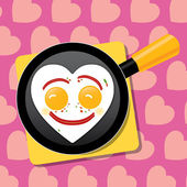 Valentine's breakfast: heart shape fried eggs on a pan. Layered file — Stock Vector