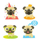Funny pug dogs in different situation: pug's birthday, pug-prince, pug-hipster and dreaming pug. — Stock Vector