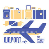 Airport stuff icons — Stock Vector