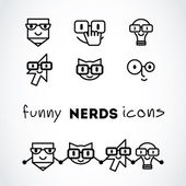 Nerds icon set with funny faces in glasses: — Stock Vector
