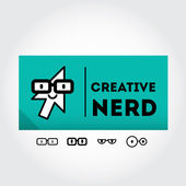 Funny nerd sign with glasses — Stock Vector