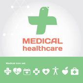 Medical healthcare sign with icon set — Stock Vector