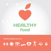 Healthe food sign with healthy lifestyle icon set — Stock Vector