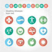 Healthy lifestyle flat round icon set. — Stock Vector
