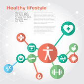 Healthy lifestyle background with flat icon set and place for text — Stock Vector