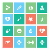Healthy lifestyle flat square icon set. Stylish and modern color palette. — Stock Vector