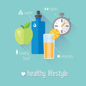 Healthy lifestyle flat illustration. Food, water and sport — Stock Vector