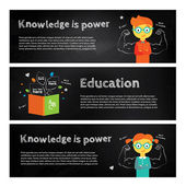 Modern vector stylish illustration about power of knowledge. Boy and girl nerd in glasses staying on the top of blackboard with chalk illustration and open book — Stock Vector