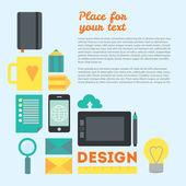 Do designer espaço de trabalho e outras coisas. no moderno trabalho de webdesigner no processo criativo ou o processo de desenvolvimento. ilustração de fundo vector modernos em estilo simples, com lugar para texto. — Vetor de Stock