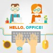 Постер, плакат: Office or co working life with working people