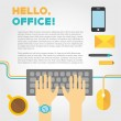 Office or co working life with typing hands — Stock Vector #48192835