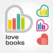 Sign with books and hearts about love to read. — Stock Vector