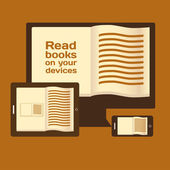 Reading books on electronic mobile devices. — Stock Vector