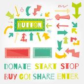 Donate button arrows ans words set . — Stock Vector