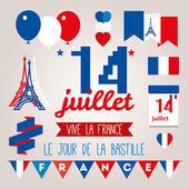 Greeting card design for The Bastille Day. — Stock Vector