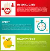 Hälsosam livsstil set — Stockvektor