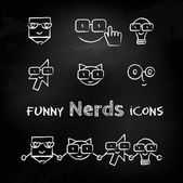 Nerds icon set with funny faces in glasses — Vector de stock