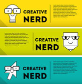 Nerds banner icon set — Vector de stock