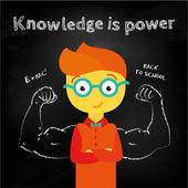 Boy nerd staying on the blackboard — Stock Vector