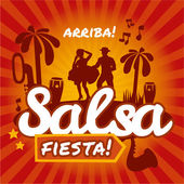 Salsa dancing poster for the party. — Stock Vector