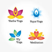 Set of four yoga logo — Stock Vector