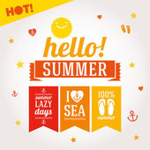 Hello summer labels set — Stock Vector