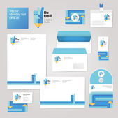 Creative set with envelope, blank, business card and disk — Vecteur