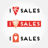 I love sales signs and symbols — Stock Vector