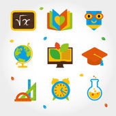 Flat icon set about education — Stock Vector