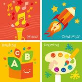 Children creativity development icon set. — Stock Vector
