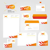 Identity corporate fire set design template — Stock Vector