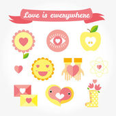 Love is cute icon and symbols set. — Stock Vector