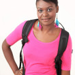Pretty african lady with backpack — Stock Photo