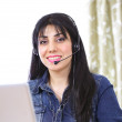 Internet telephony female — Stock Photo