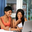 Girls fun on computer — Stockfoto