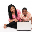 Kids fun on laptop — Stock Photo
