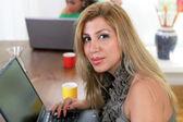 College girl on laptop — Stock Photo