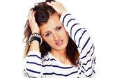 Woman headache stress — Stock Photo