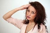 Chica tiene dolor de cabeza — Foto de Stock