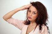 Girl has headache — Stock Photo