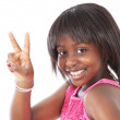 Little girl peace sign — Stock Photo