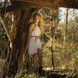Forest girl in medieval style — Stock Photo