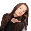 Pretty girl blowing kiss — Stock Photo