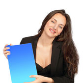 Your message here! Woman with placard — Stock Photo