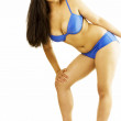 Cute busty female in blue underwear — Stock Photo